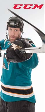 San Jose Sharks Jumbo Joe Thornton wearing CCM hockey gear