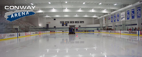 The ice appears like glass at Conway Ice Arena in Nashua New Hampshire. Conway Arena is host to Radius Edge Power Skating year round private lesson.